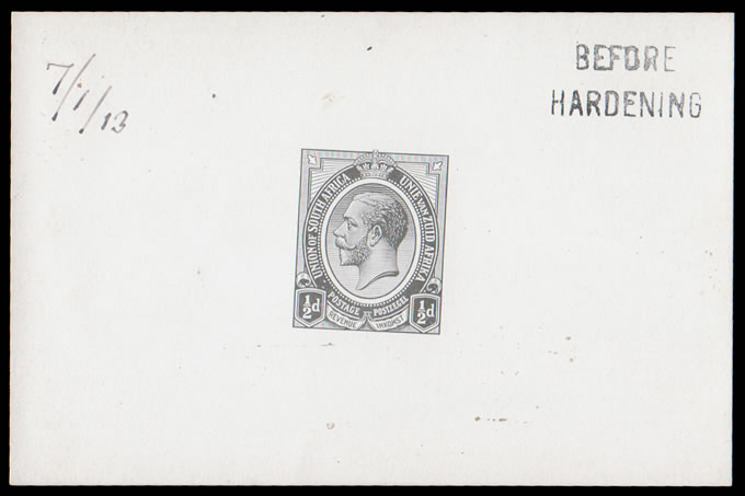 SOUTH AFRICA 1913 KGV ½D DIE PROOF COMPLETE DESIGN BH