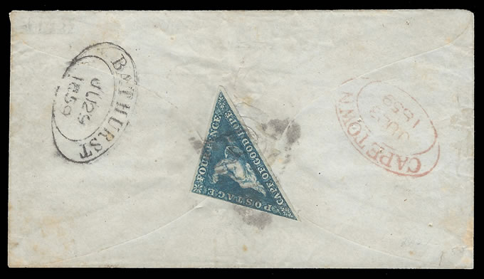 Cape of Good Hope 1859 Charming 4d Triangular Letter - Click Image to Close