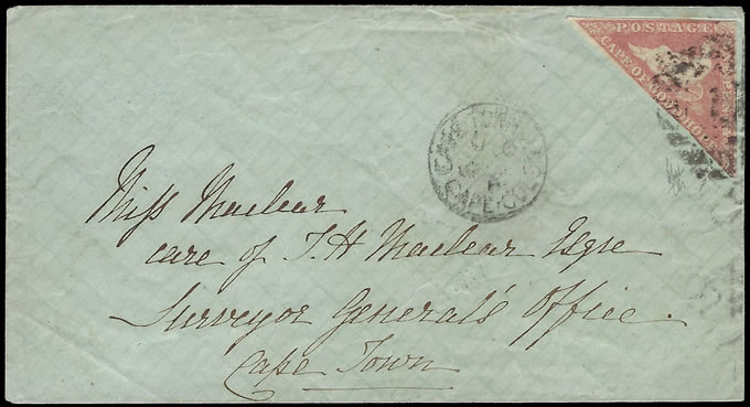 "Cape of Good Hope 1865 1d Triangle Cape Town ""Drop"" Letter"