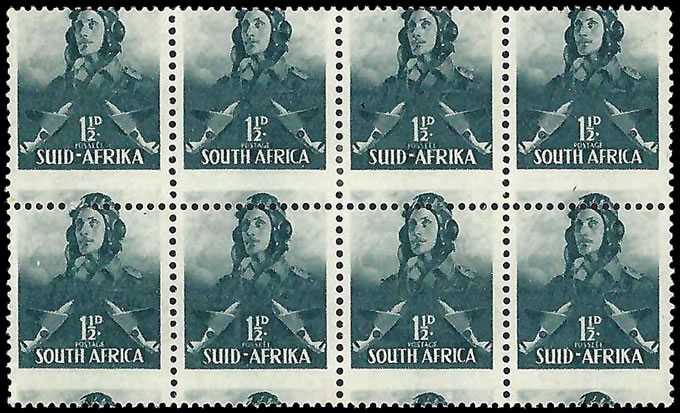 South Africa 1942 Large Wars 1½d Airman Misperforated Block