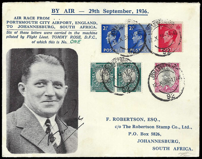 South Africa 1936 Schlesinger Air Race Tommy Rose Special Cover