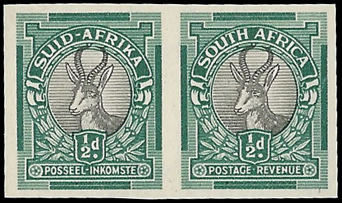 "SOUTH AFRICA 1947 ½D PO MUSEUM ""PROOF"" IMPERF, RARE"