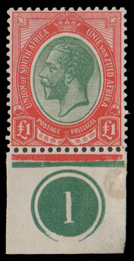 SOUTH AFRICA 1913 KGV £1 GREEN & RED WITH PLATE NO