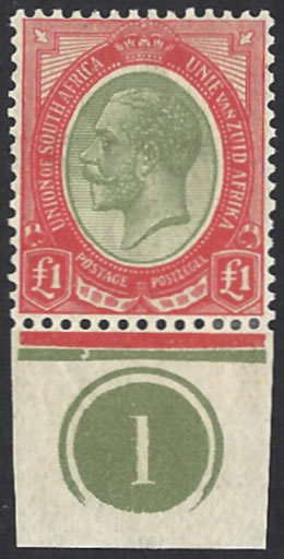 South Africa 1913 KGV £1 Pale Olive-Green & Red, Plate No