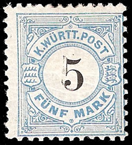 WURTTEMBERG 1881 5M DOUBLE PRINT OF VALUE WITH CERT