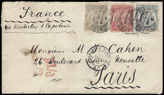 TRANSVAAL 1889 LOVELY THREE COLOUR FRANKING TO PARIS