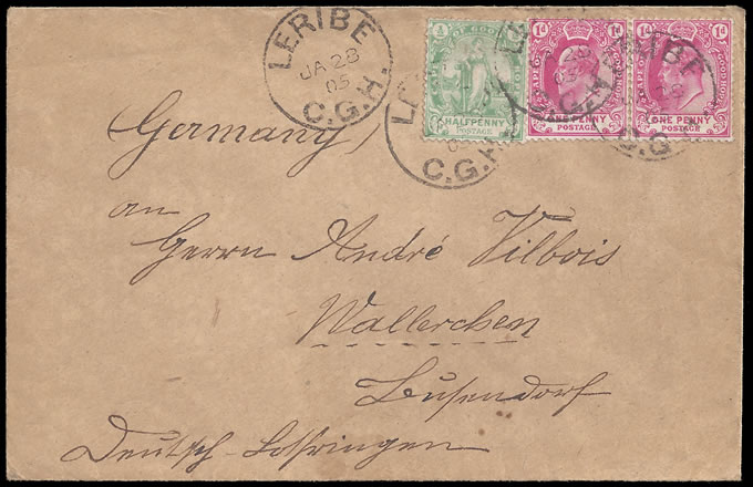 BASUTOLAND 1905 COVER FROM LERIBE TO GERMANY