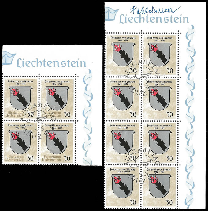 LIECHTENSTEIN 1964 BLOCK MISSING GOLD, COUNTRY NAMES OMITTED