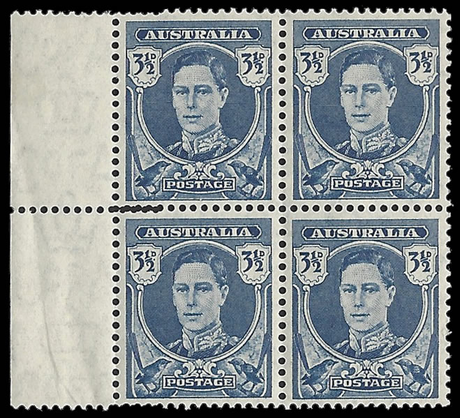 AUSTRALIA 1942 KGVI 3½D DOUBLE PERFORATIONS BLOCK