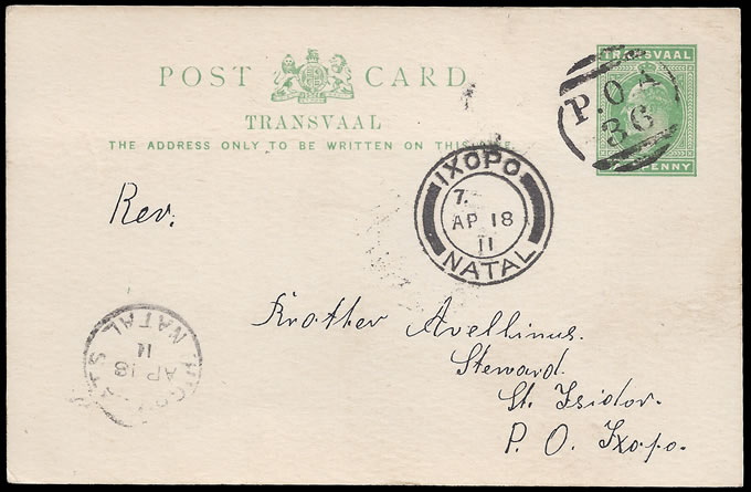 South Africa 1911 Transvaal Card Used Natal, Superb POA 36