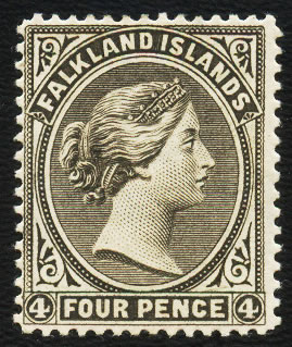 Falkland Islands 1887 QV 4d Grey-Black, Crown to Right, VF/M