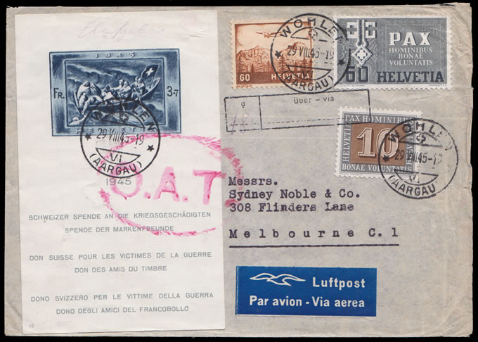 Switzerland 1945 War Victims Bloc on OAT Cover to Australia