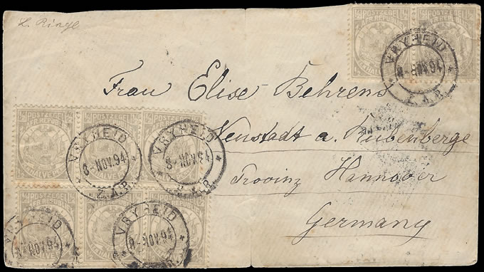TRANSVAAL 1894 VURTHEIM FRANKING ENVELOPE TO GERMANY