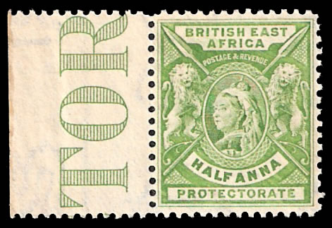 BRITISH EAST AFRICA 1896 ½A VF/M MARGINAL