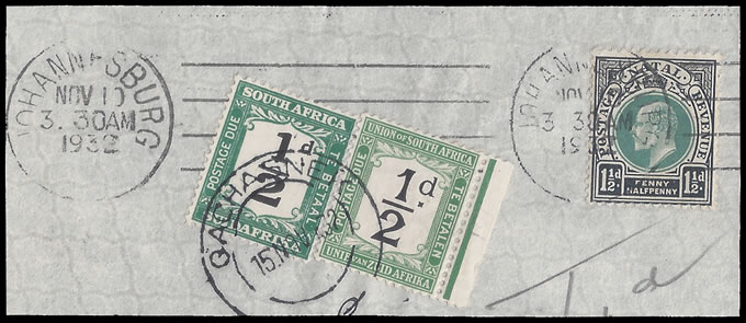 BASUTOLAND POSTAGE DUE 1932 SA DUES USED IN QACHASNEK