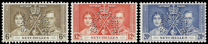 SEYCHELLES 1937 KGVI CORONATION SPECIMENS VF/M