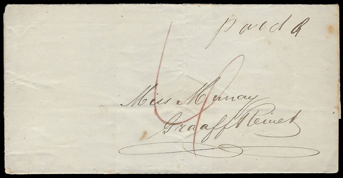 ORANGE FREE STATE 1849 PRESTAMP WRAPPER TO CAPE, RARE