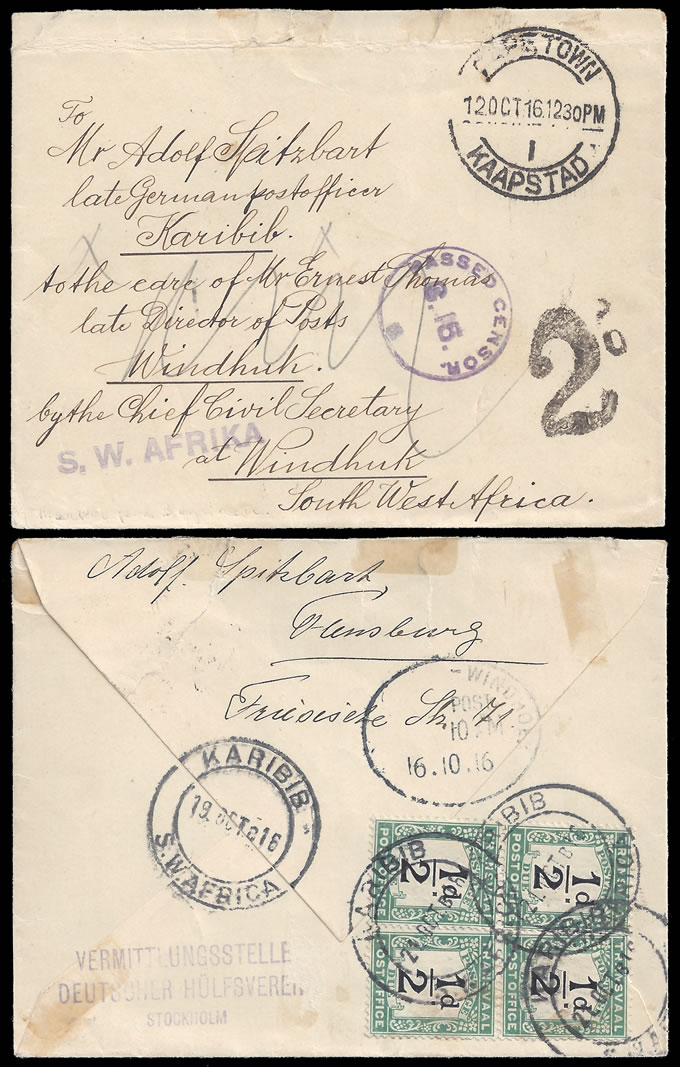 South West Africa 1916 SA (Transvaal) Postage Due Used In