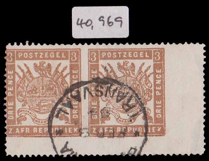 Transvaal 1883 Celliers 3d Imperf Between Pair, Rarity!