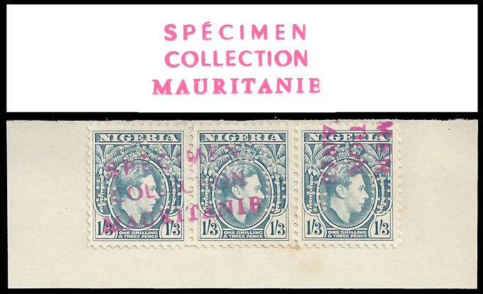 NIGERIA 1940 KGVI MAURITANIA ARCHIVE SPECIMENS, UNIQUE