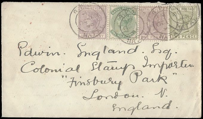 NATAL 1893 REVENUE STAMPS IN FRANKING TO UK
