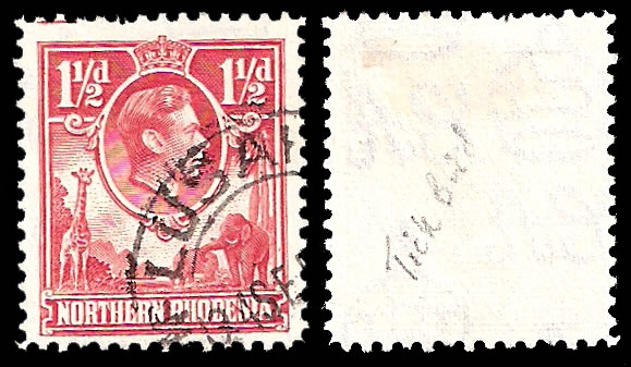 Northern Rhodesia 1938 1½d with Tick Bird Flaw