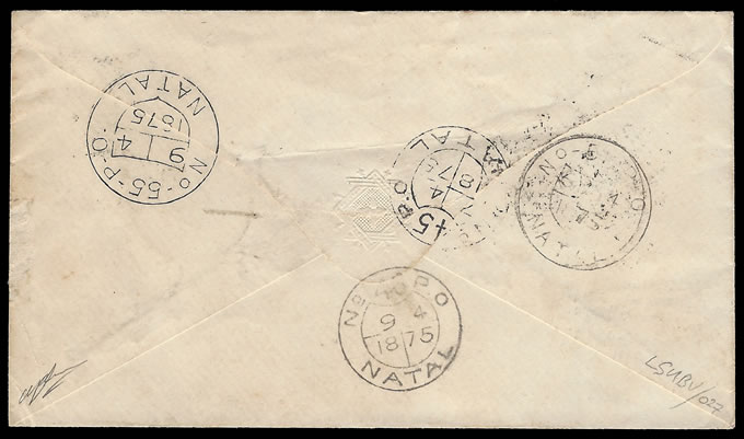 Natal 1875 Rare Shield Nos 4, 45, 46, 51 & 55 Postmarks on Cover