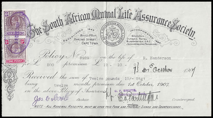 CAPE OF GOOD HOPE 1907 SA MUTUAL LIFE POLICY RECEIPT, KEVII 7D