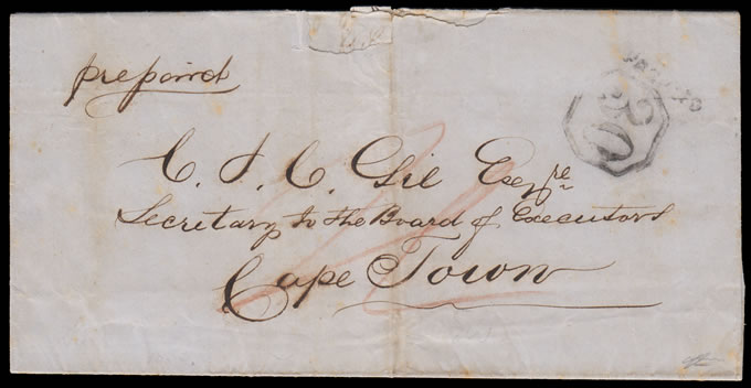 CAPE OF GOOD HOPE 1853 SWELLENDAM POSTMASTER'S LOCAL HANDSTAMP