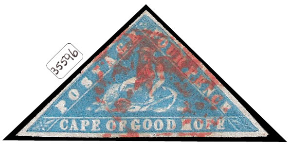 CAPE OF GOOD HOPE 1861 WOODBLOCK, BEAUTIFUL RED CANCEL, RARE