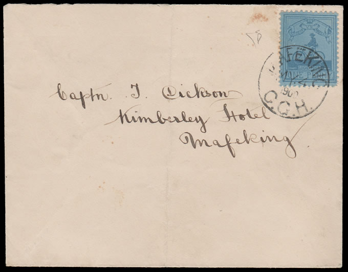 MAFEKING SIEGE 1900 SG17, 1D CYCLIST, REMARKABLE FORGED LETTER