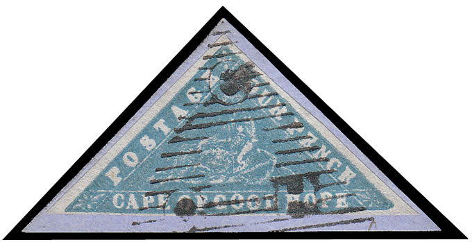 CAPE OF GOOD HOPE 1861 4D PALE MILKY BLUE WOODBLOCK WITH CERT