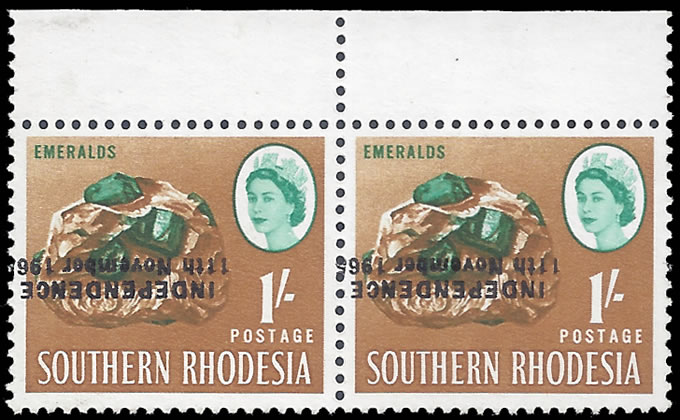 RHODESIA 1966 1/- BINDA FORGERY OVPT INVERTED & SHIFTED