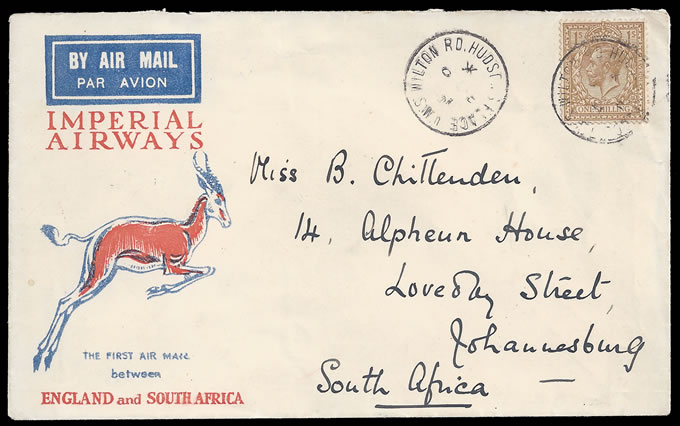 South Africa 1931 Imperial Airways Special Xmas Flight, 75 Flown