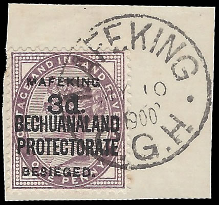 MAFEKING SIEGE 1900 SG12 3D ON 1D LILAC VF/U ON PIECE