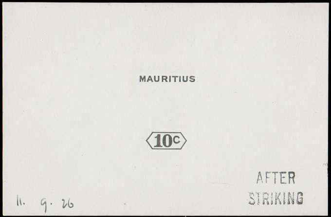 MAURITIUS 1926 10C DIE PROOF AFTER STRIKING