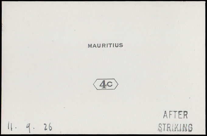 MAURITIUS 1926 4C DIE PROOF AFTER STRIKING