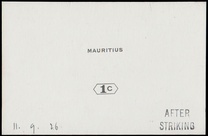 MAURITIUS 1926 1C DIE PROOF AFTER STRIKING