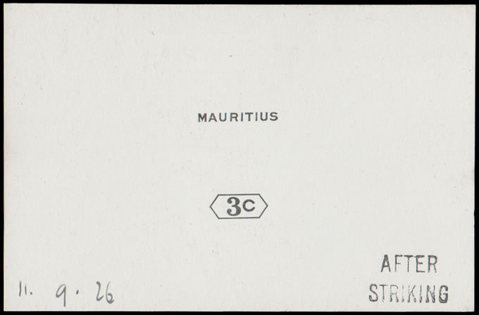 MAURITIUS 1926 3C DIE PROOF AFTER STRIKING