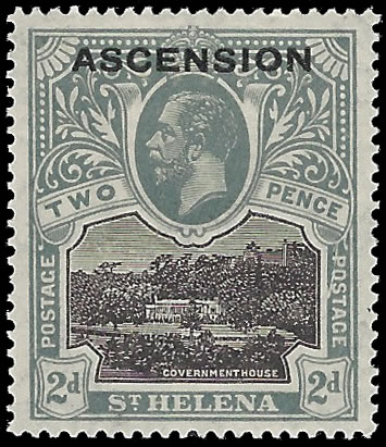"ASCENSION 1922 KGV 2D LINE THROUGH ""P"" OF ""POSTAGE"", SUPERB M"