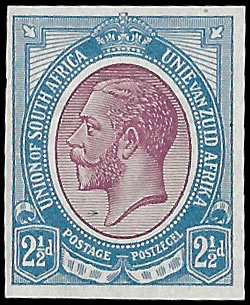 SOUTH AFRICA 1913 KGV IMPERF COLOUR TRIAL, PURPLE & BLUE AS 5/-
