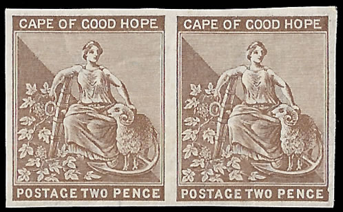 CAPE OF GOOD HOPE 1882 2D IMPERF PLATE PROOF PAIR, CROWN CA