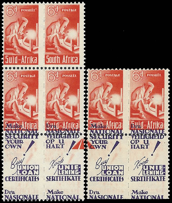South Africa 1942 Bantam 6d Slogans Shifted to Print on Stamps