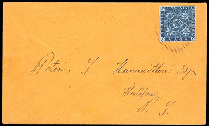 NOVA SCOTIA 1860 3d DEEP BLUE ON LOVELY COVER