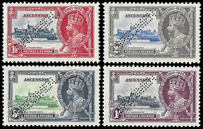 ASCENSION 1935 SILVER JUBILEE SET PERFORATED SPECIMEN VF/M