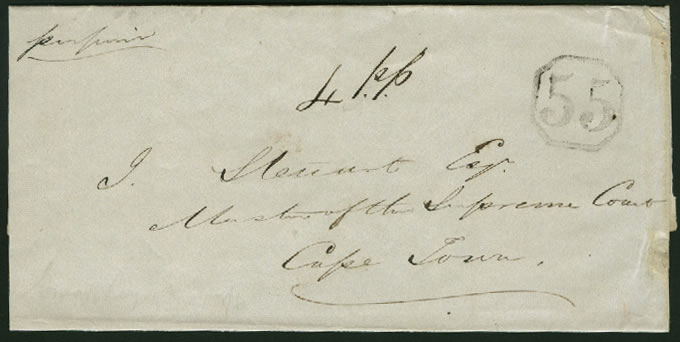 CAPE OF GOOD HOPE 1850 RARE OCTAGONAL 55 LETTER