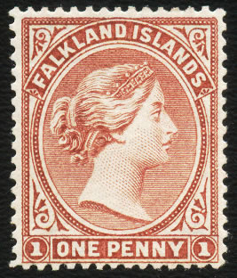 FALKLAND ISLANDS 1885 QV 1D PALE CLARET VF/M