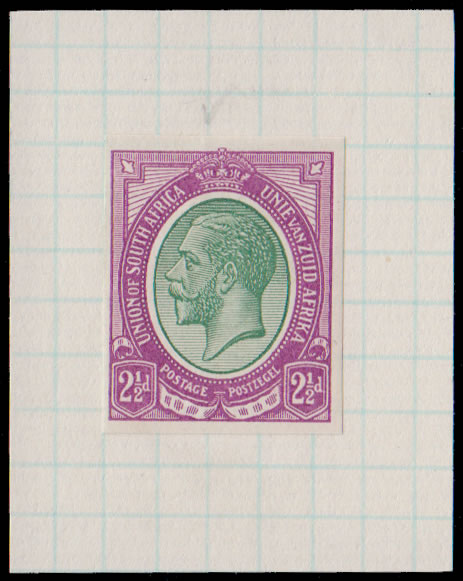 SOUTH AFRICA 1913 KGV IMPERF COLOUR TRIAL, GREEN & PURPLE, RARE