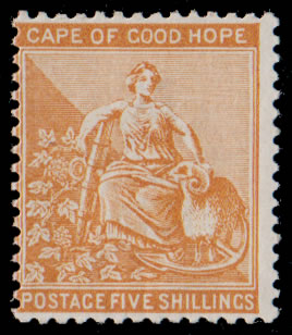 Cape of Good Hope 1883 5/- Watermark Crown CA VF/M , Cert