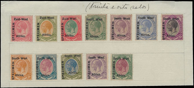 SOUTH WEST AFRICA 1923 KGV ½D - £1 ARCHIVE SPECIMEN